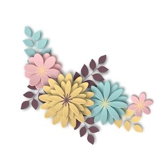 紙アートのスタイルで美しい花の構成