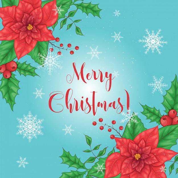 赤い花のポインセチアのクリスマスカード