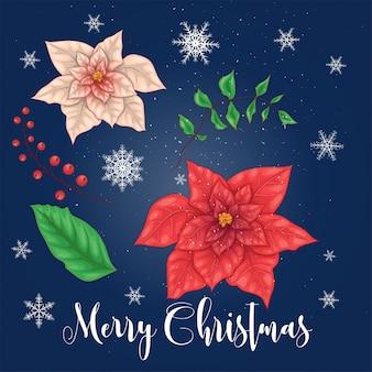ポインセチアの花とクリスマスの花の要素。
