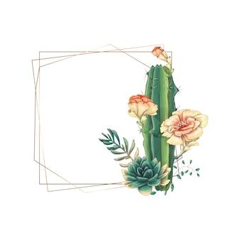 多肉植物とサボテンの結婚式のカラフルなフレーム。
