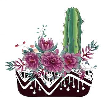 Открытка с кактусами и суккулентами