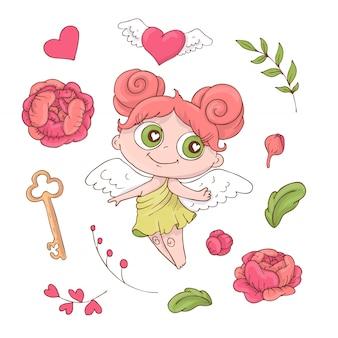 バレンタインの日のためのかわいい漫画の天使たちのセット