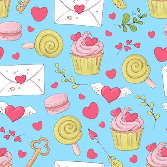 聖バレンタインの日カップケーキとのシームレスなパターン。