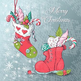 Новогодние носки с подарками. векторные иллюстрации.