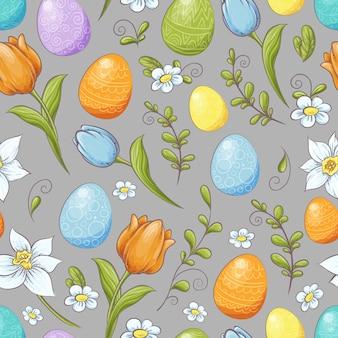 卵と様式化された花のシームレス花柄