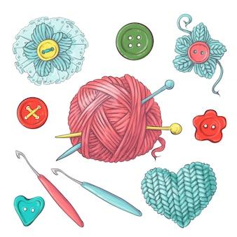 かぎ針編みや編み物のために手作りのために設定します。
