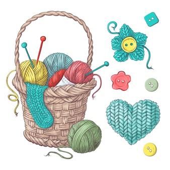 かぎ針編みや編み物のための手作りのバスケットのために設定します。