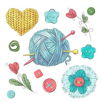 かぎ針編みや編み物のための手作りボールをセットします。