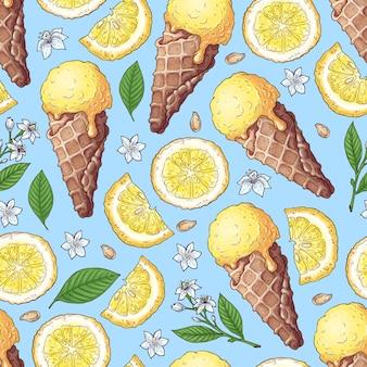 カラフルなレモンとみかんのフルーツとシトラスのアイスクリーム