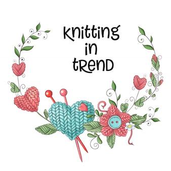 編み針とシンプルなイラスト