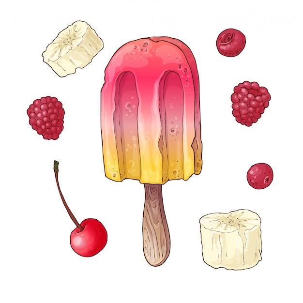 Набор мороженого из свежих фруктов