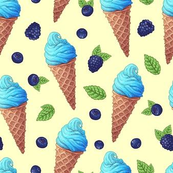 アイスクリームコーンのシームレスパターン