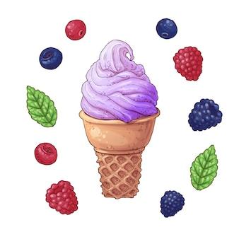 アイスクリームコーンのベクトル図のセット