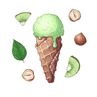 キウイナッツアイスクリームのセット