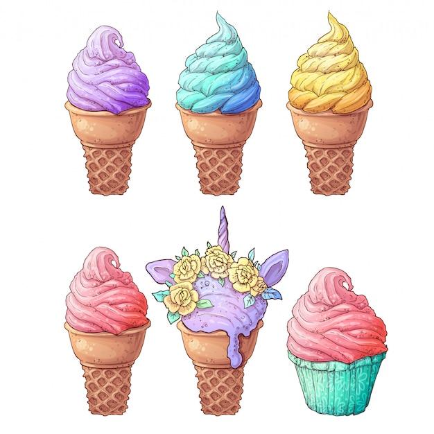 アイスクリームをセット