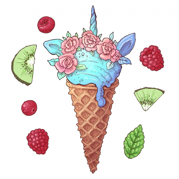 Набор мороженое единорог киви малина