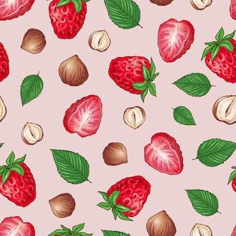 ストロベリーナッツのシームレスなパターン。ベクトル図手描き