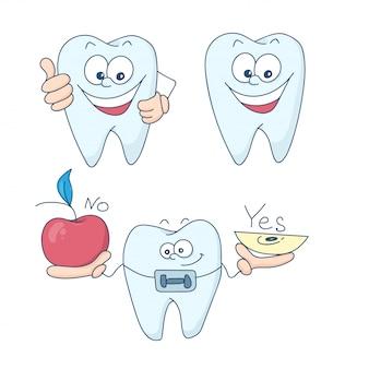 Зубы с брекетами.
