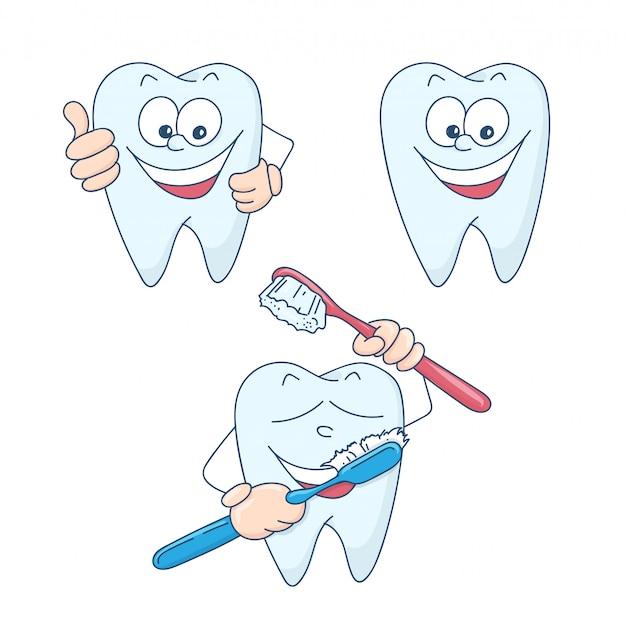 かわいい漫画の健康的で美しい歯。
