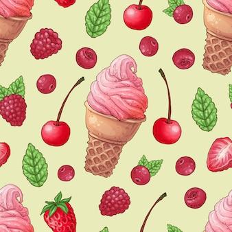 シームレスパターンアイスクリームラズベリーチェリー。