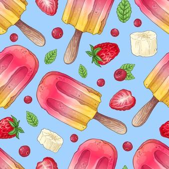 シームレスパターンアイスクリームラズベリー