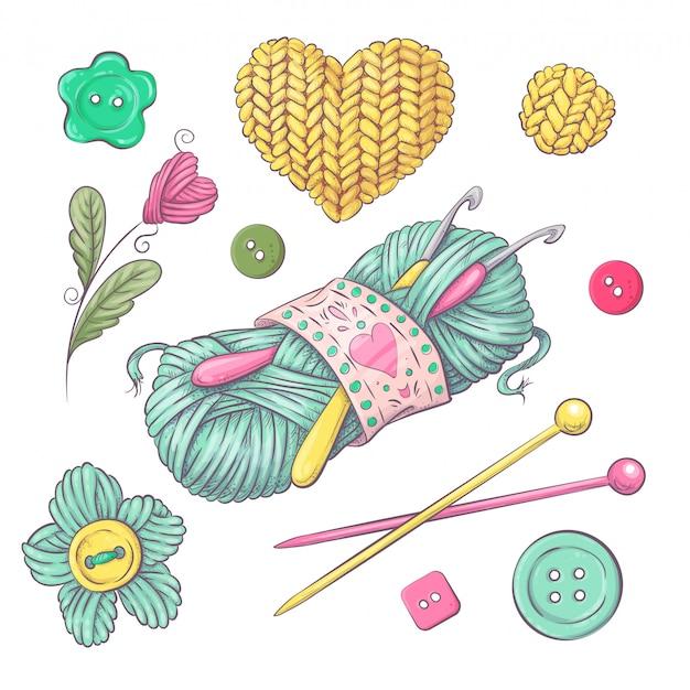Набор вязаной одежды клубок вязальной спицами. рука рисунок