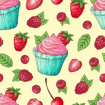 シームレスパターンカップケーキイチゴ