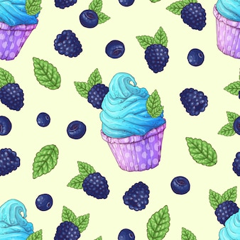 シームレスパターンカップケーキイチゴラズベリーチェリー