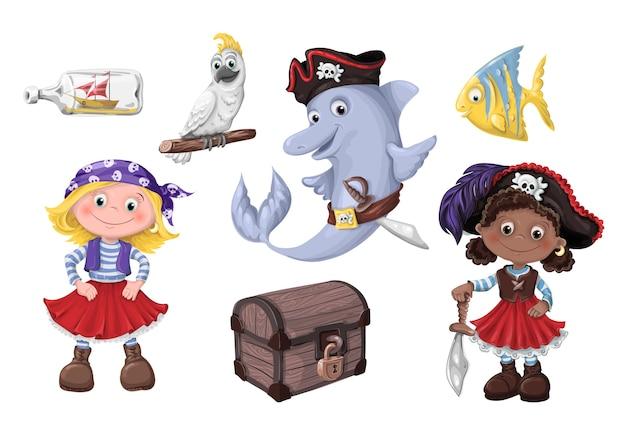 Симпатичные мультфильм девушка пиратские векторные иллюстрации. детские пираты.