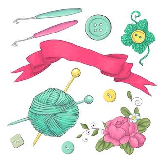 Набор вязаной одежды клубок вязальной спицами. рука рисунок.