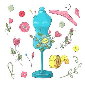 Набор манекен швейных принадлежностей. рука рисунок
