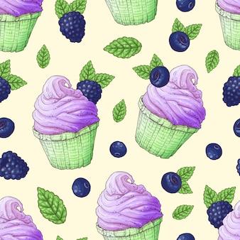 シームレスパターンカップケーキイチゴラズベリーチェリー。手描き。