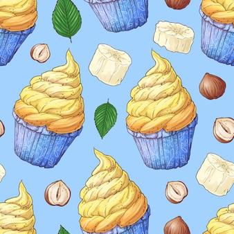 手描きの背景イラスト - カップケーキのコレクション。シームレスパターン