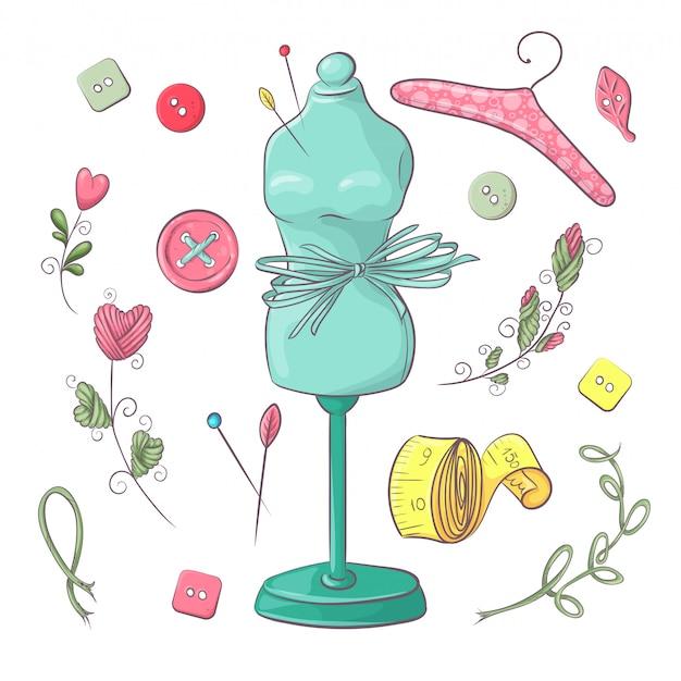 Набор манекен швейных принадлежностей.