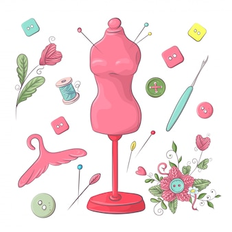 Набор манекен швейных принадлежностей. рука рисунок. векторная иллюстрация