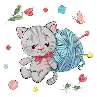 子猫と編み物のための糸のボールを設定します。