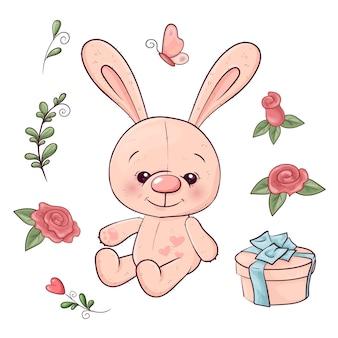 野ウサギと花のセット