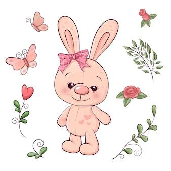 小さなウサギと花のセットです。手描き。ベクトルイラスト
