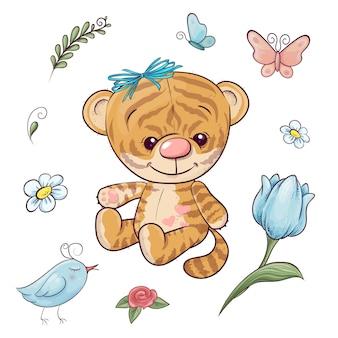 Установите маленького тигра с воздушным шаром. рука рисунок