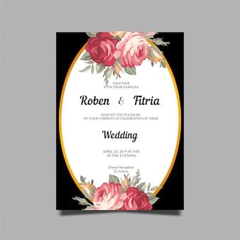 黒の背景とバラの花の結婚式の招待状