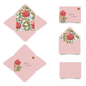 花と結婚式の招待状封筒テンプレート