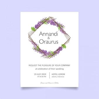 ラベンダーの花の結婚式の招待カードテンプレート