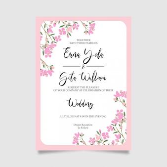 花とピンクの結婚式の招待カードテンプレートフレーム