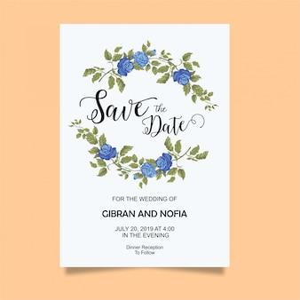 青いバラの結婚式の招待カードテンプレート