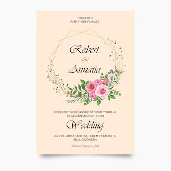 モダンな結婚式の招待状カードのテンプレート