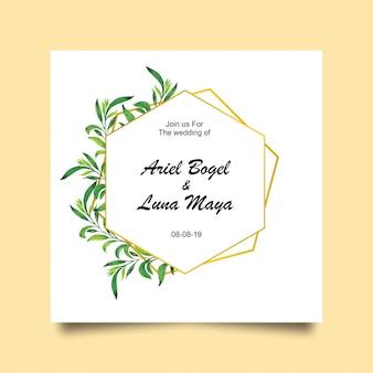 結婚式の葉とゴールドフレームの招待状