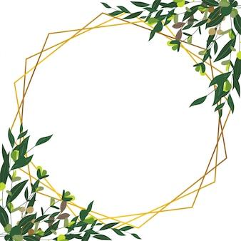 Рамка из листьев с золотыми полосками