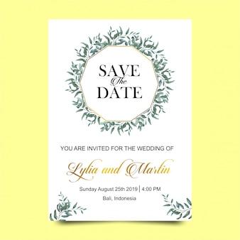 水彩風の葉との結婚式の招待状
