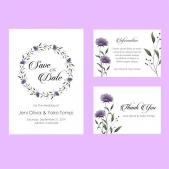紫の花の結婚式の招待状