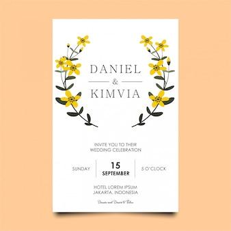 黄色の花の結婚式の招待状